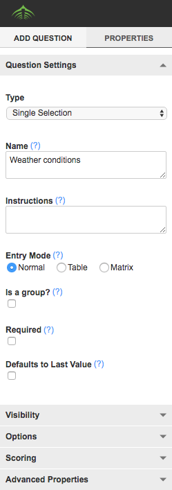 A screenshot showing an example of a single selection question, which is a type of option field