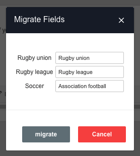 A screenshot showing an example of the option migration process