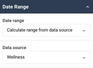 A screenshot showing the date range properties in the date picker widget