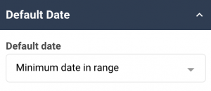 A screenshot showing the default date properties in the date picker widgets