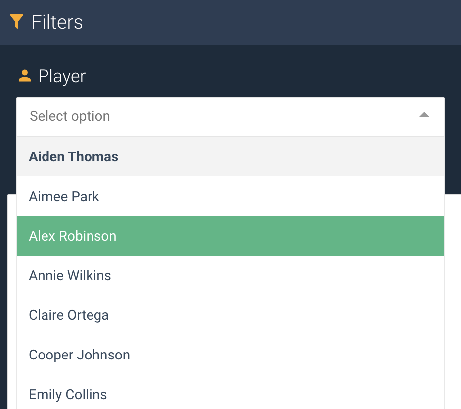 A screenshot showing an example of the select box widget