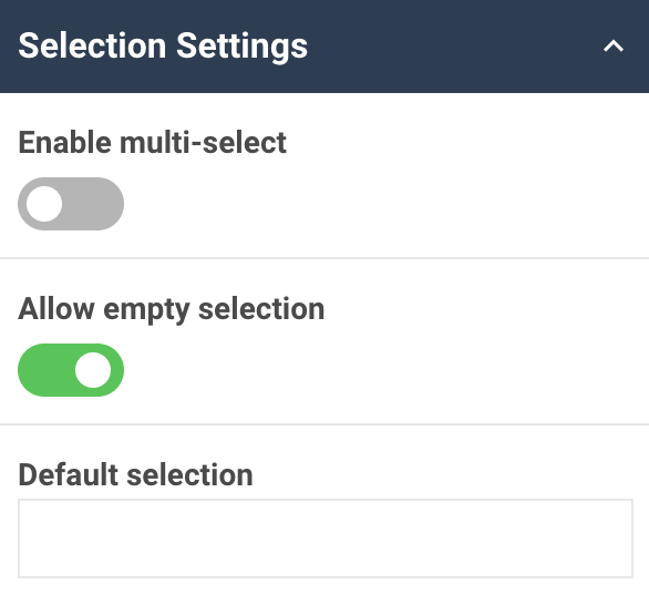 A screenshot showing the selection settings in the select box widget