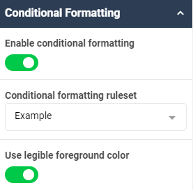 A screenshot showing an example of the conditional formatting properties for the tile widget