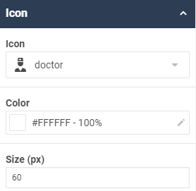 A screenshot showing an example of the icon properties for the tile widget