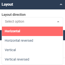 A screenshot showing an example of the layout properties for the tile widget