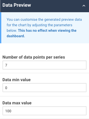 A screenshot showing an example of the data preview properties for a time series chart