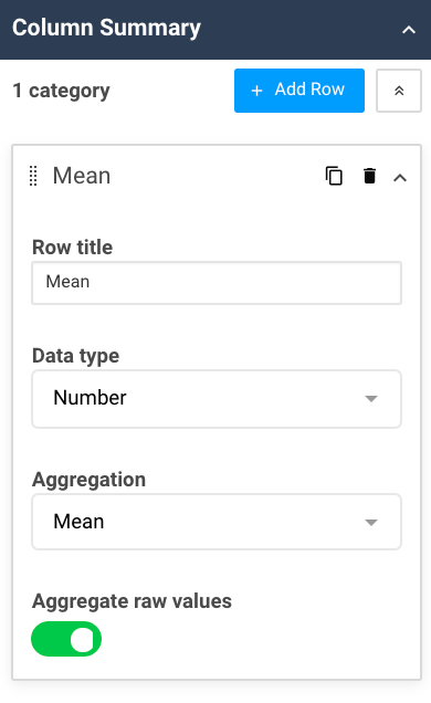 A screenshot showing the column summary properties for the aggregation table widget