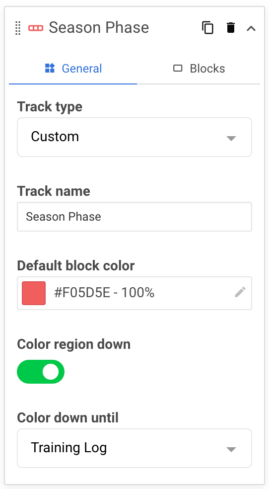 A screenshot showing an example of a custom track within the periodisation diagram widget