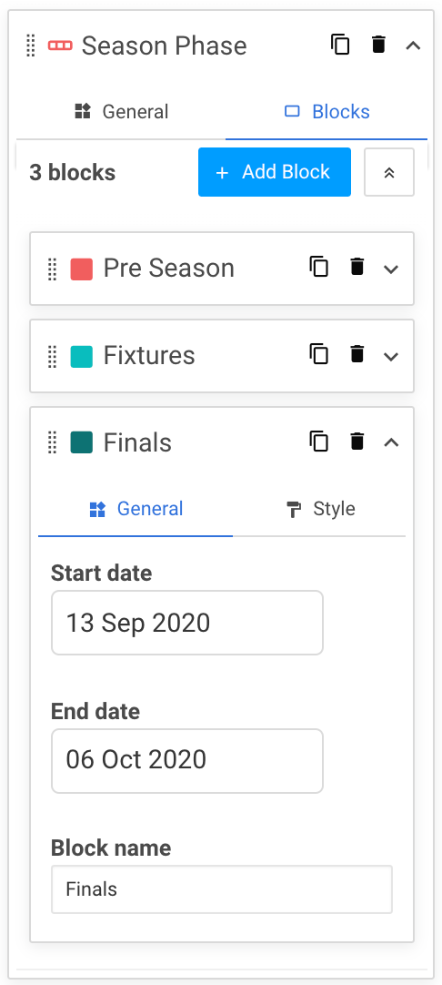 A screenshot showing an example of a custom track's block settings within the periodisation diagram widget