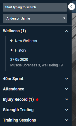 A screenshot showing an example of how the sidebar appears for someone with who is not a coach type user