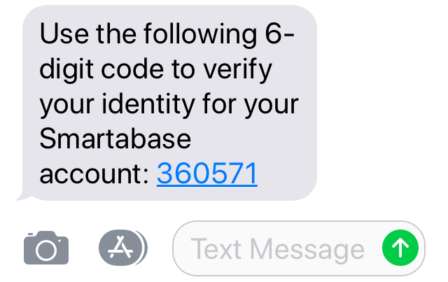 A screenshot from an Iphone showing how a multi-factor authentication code appears when sent via SMS