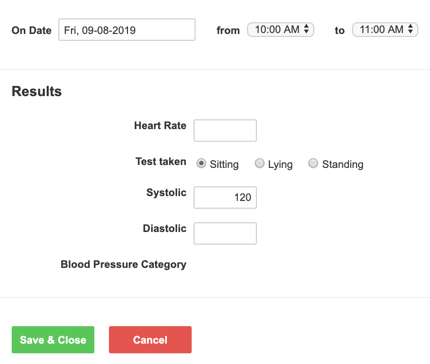 An example of an event form for recording blood pressure test results