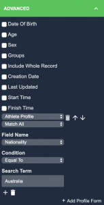 An example screenshot showing the advanced section of the reporting sidebar for an event form report.