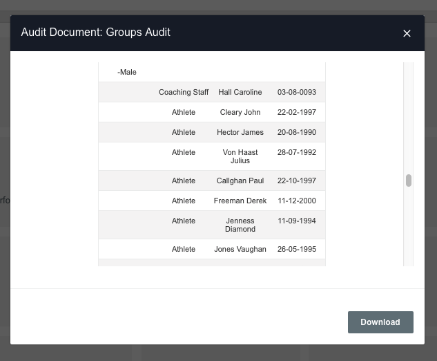 A screenshot showing an example of the group audit preview prior to download as a CSV file