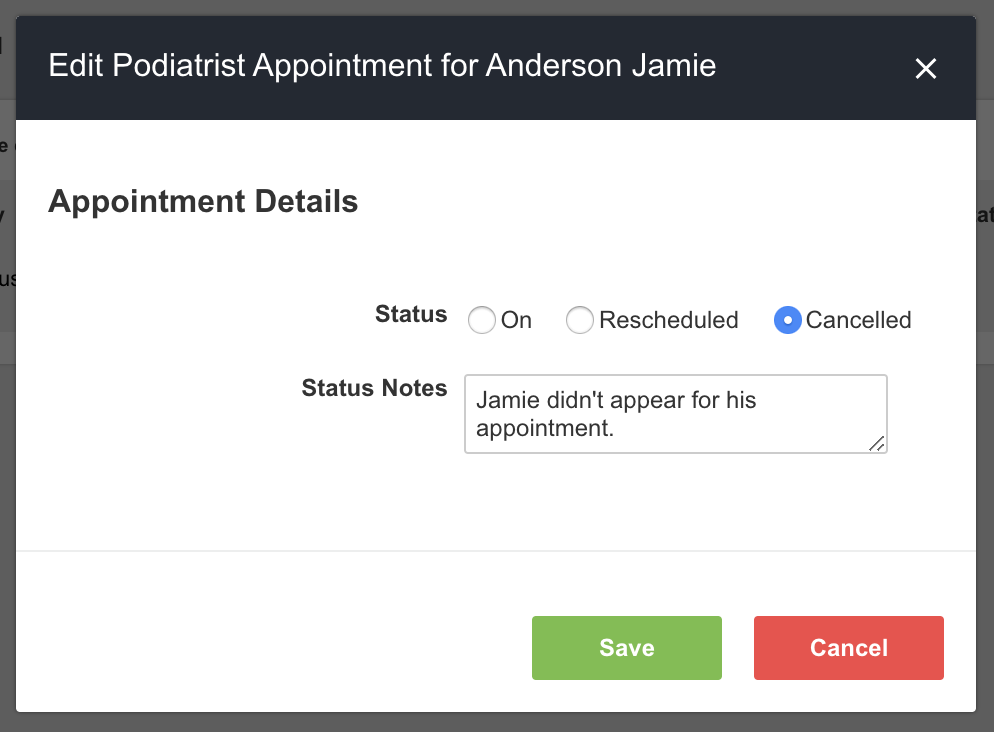 A screenshot showing an example of the pop-up screen for making quick edits to the podiatrist appointment record for an athlete