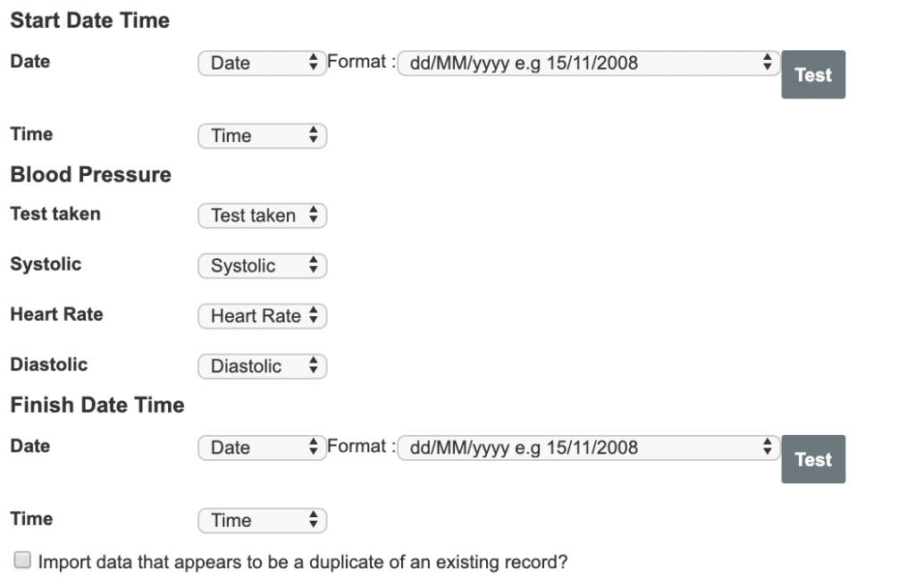 A screenshot showing the process of mapping data from an import file to the fields in a blood pressure event form