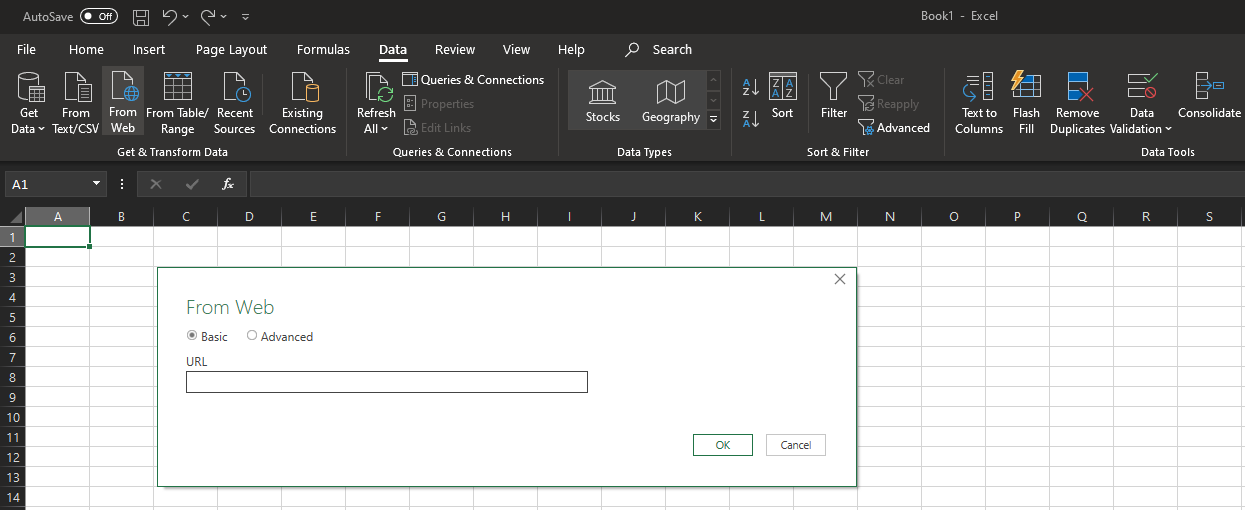 Screenshot showing how to set up an excel live report using Excel for Windows
