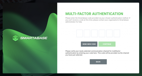 A screenshot of the multi-factor authentication page