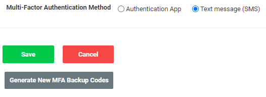 A screenshot of the Generate New MFA Backup Codes button in the administration site