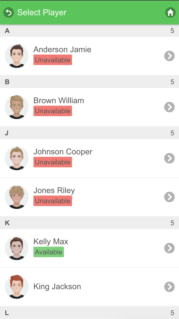 A screenshot from the Smartabase mobile application showing the athlete selection screen