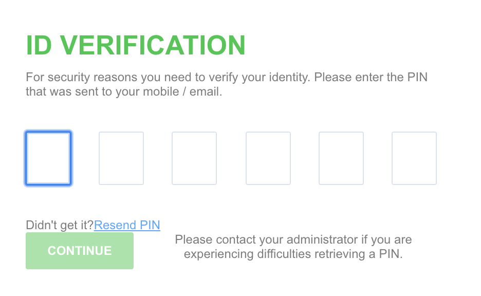 A screenshot showing an example of the multi-factor authentication process