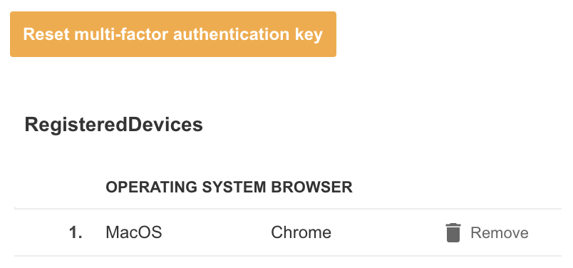 A screenshot showing an example of the option to reset the multi-factor authentication key for a user account