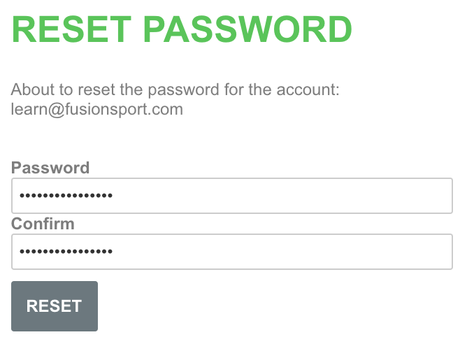 A screenshot showing an example of the process for creating a new password