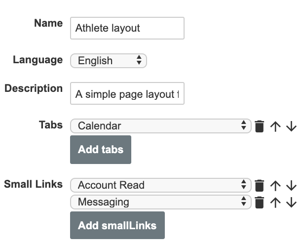 A screenshot showing an example of settings for a simple page layout for athletes