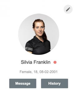 A screenshot example showing how a status indicator appears in the athlete sidebar