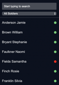 A screenshot showing how status indicators appear in the sidebar when all athletes are visible.