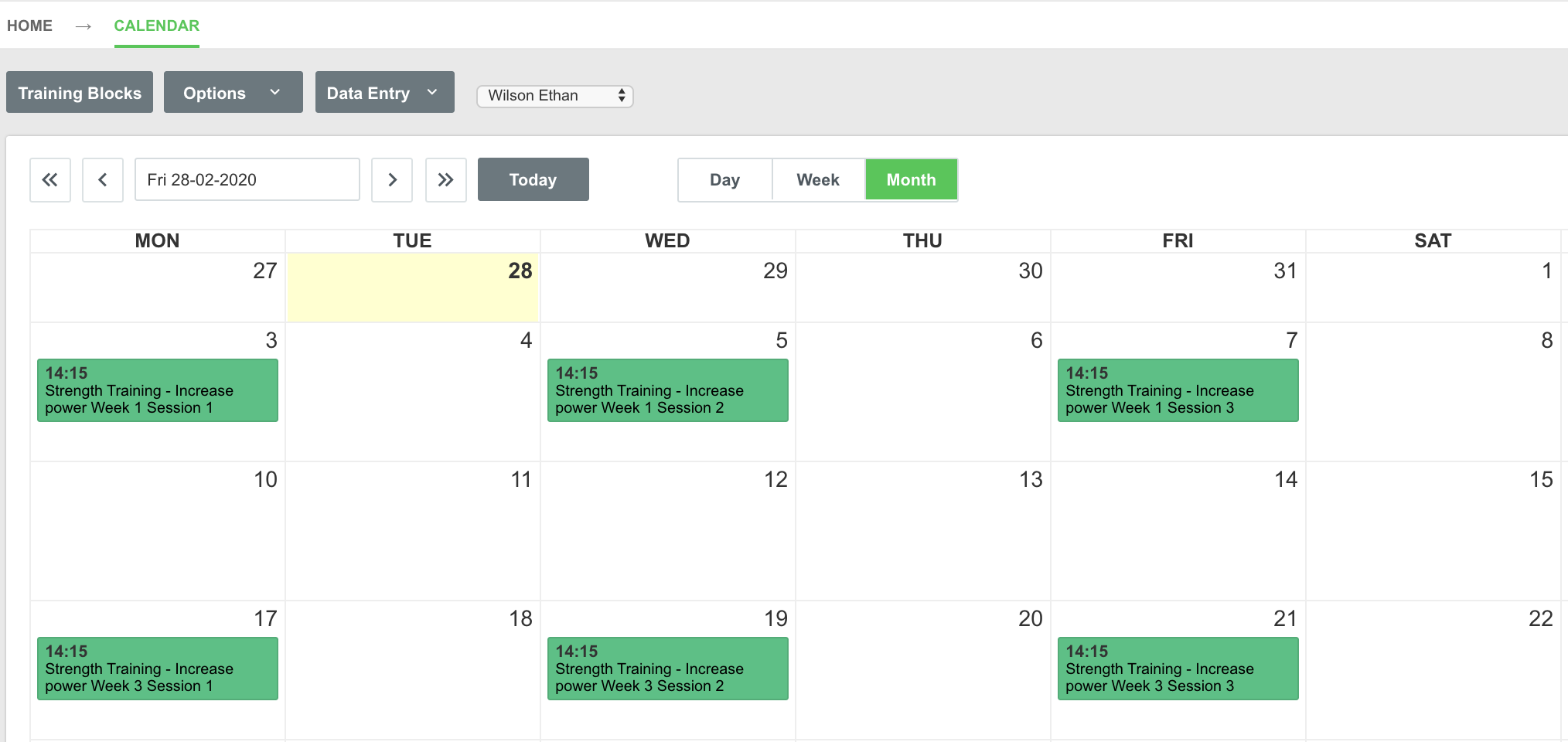 A screenshot showing an example of an athlete's calendar with an active training block visible