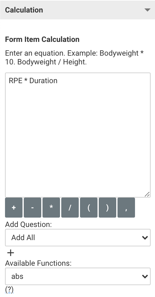 A screenshot showing an example of the calculation editor in use
