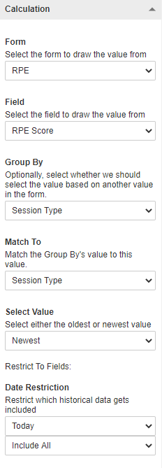 A screenshot showing an example of group by and match to settings for a linked option calculation