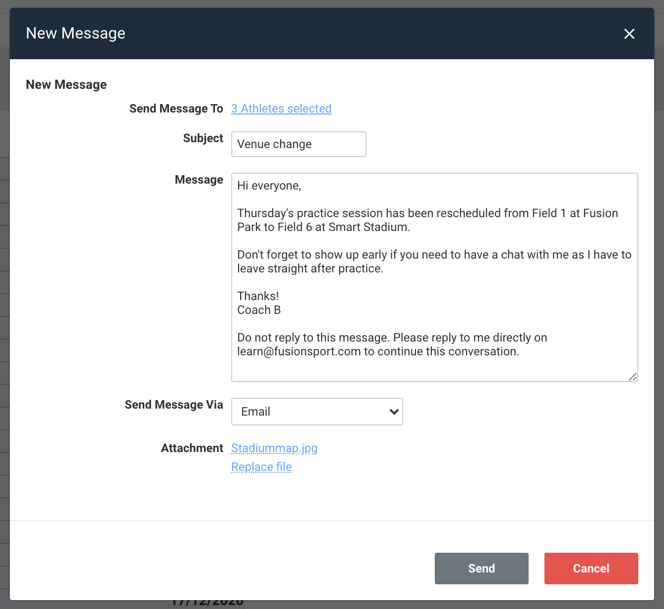 A screenshot showing an example of a new message being composed.