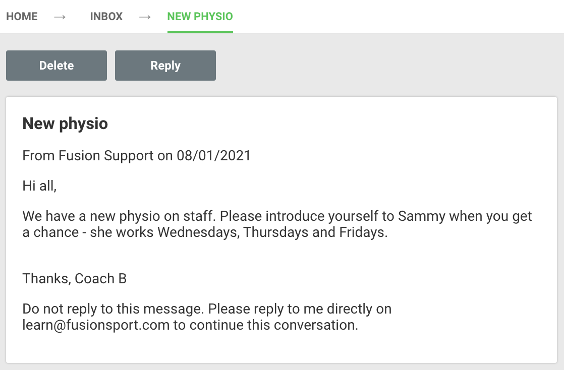 A screenshot showing an example of a message being viewed from a Smartabase inbox.