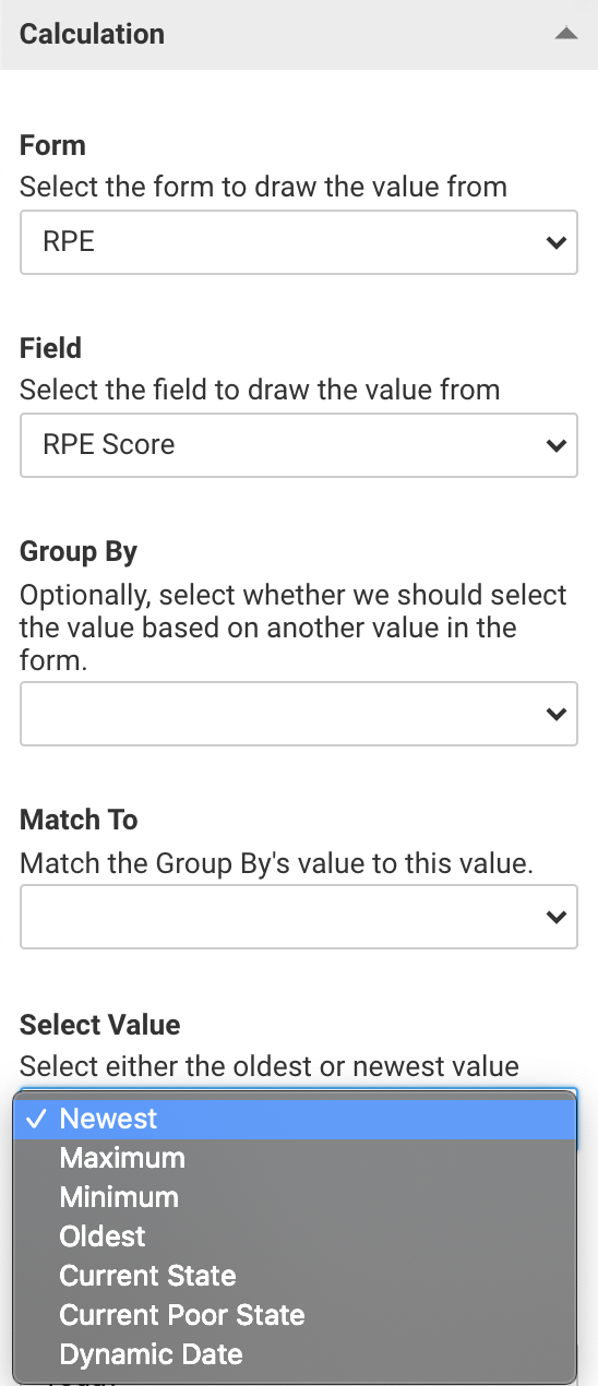 A screenshot showing an example of the value selection settings for a linked calculation.