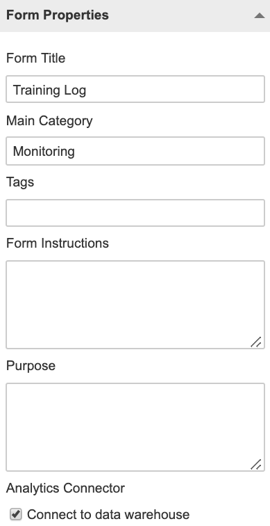 A screenshot showing the form property that enables synchronisation of an event form with your data warehouse