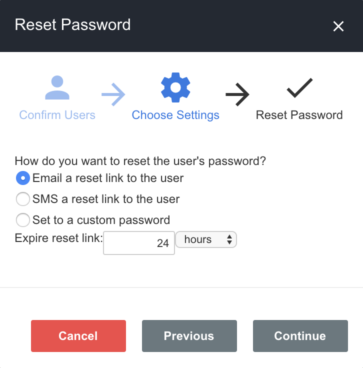 A screenshot showing an example of the process for an administrator to reset a user's password