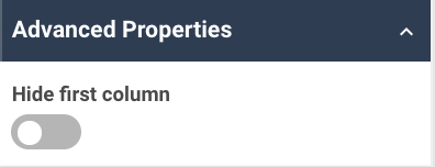 A screenshot showing an example of the advanced properties for the aggregation table widget