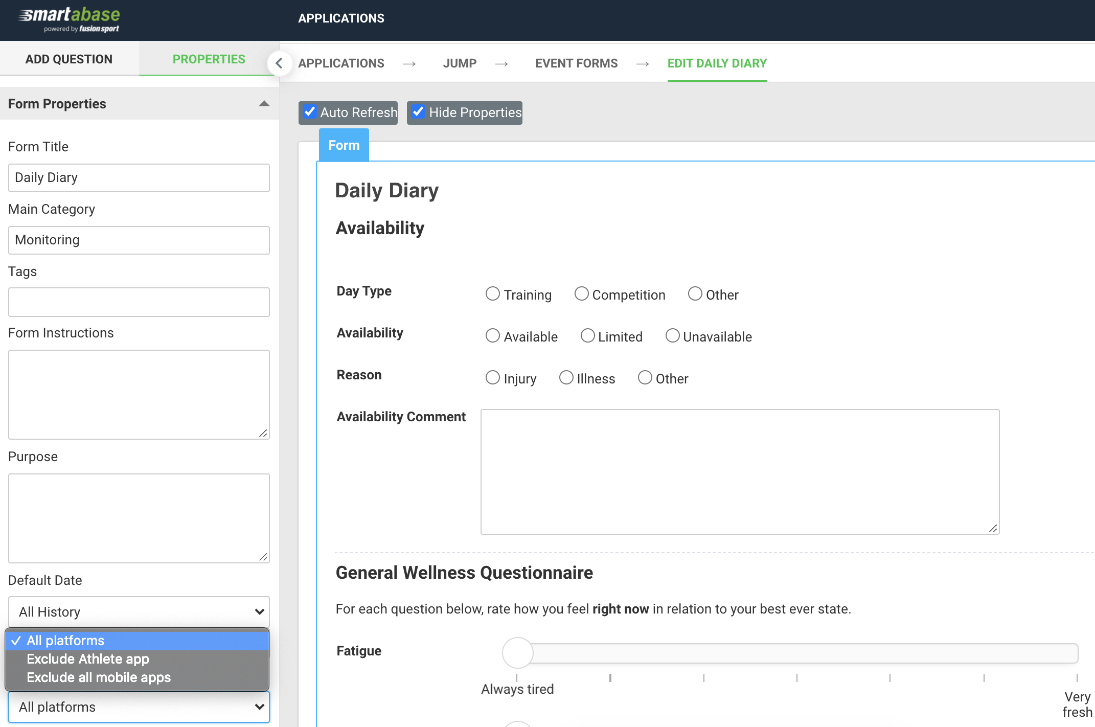 Screenshot showing an example of the availability property for forms
