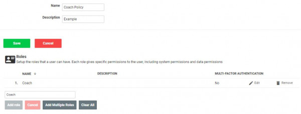 An example screenshot showing the settings required when creating a restriction policy in the administrator interface.
