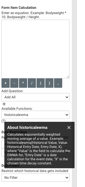 A screenshot of the historical EWMA function
