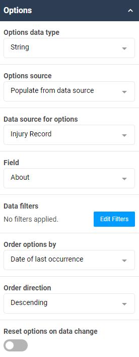 An screenshot of the select box option settings.