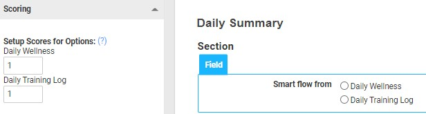 A screenshot of a single select field with scored options