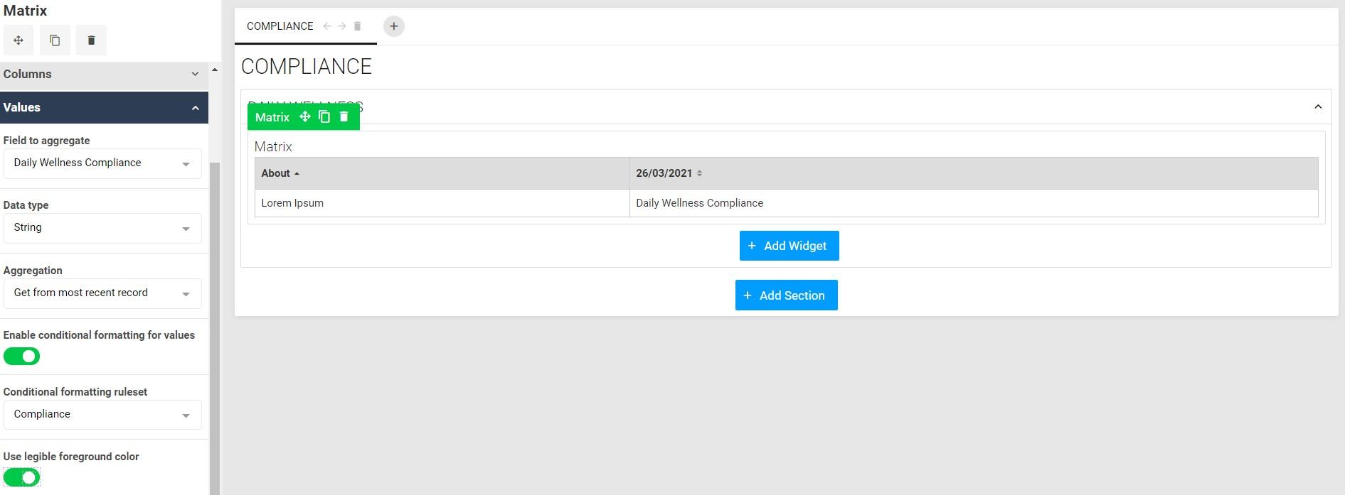 A screenshot of a matrix widget in the dashboard builder