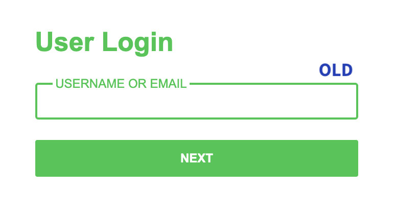 A screenshot showing the old font on the login page