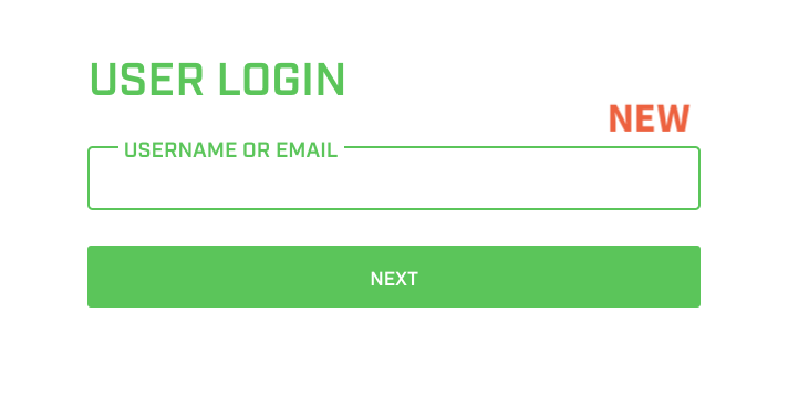 A screenshot showing the new font on the login page