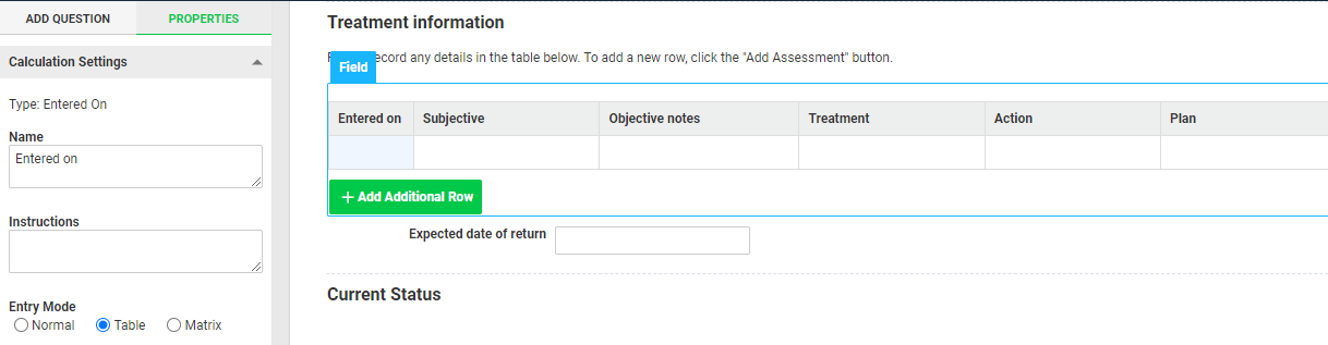 A screenshot of an injury record event form containing a treatment table. The table includes an entered on calculation