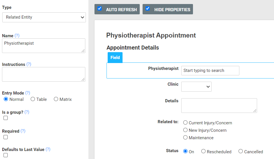 A screenshot of an appointment form named Physiotherapist Appointment. The booking form contains a related entity field named Physiotherapist to select the entity or physiotherapist that the booking is with.